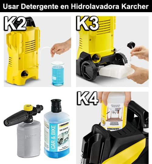 como usar detergente en hidrolavadora karcher